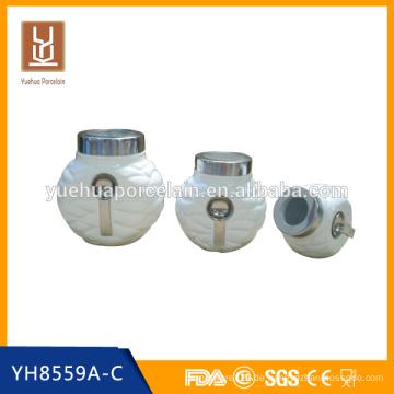 Keramik weißer Porzellan Kaffee Tee Kanister Set mit Löffel
