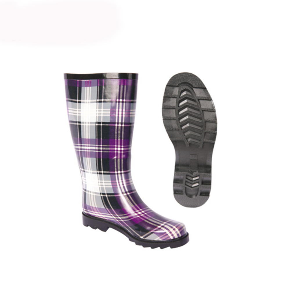 Fashion custom rubber rain boots with fur lining