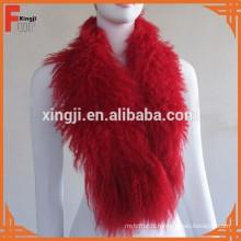 teint mongol fourrure couleur rouge tibet agneau écharpe