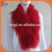 крашеные монгольский мех красного цвета Тибет ягненка шарф