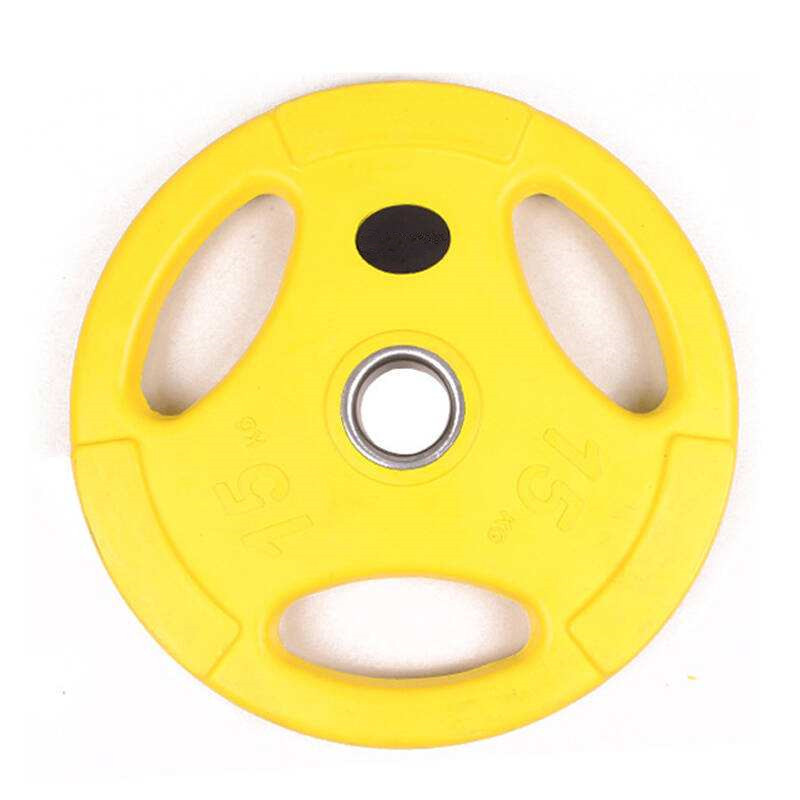 Three Handles Rubber Coated Barbell Bumper Weight Plates1