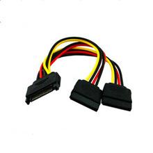SATA 15pin mâle à 2 câble d'alimentation de diviseur HDD femelle