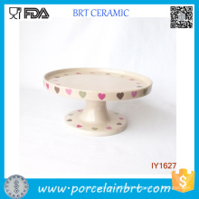 Ceramic Beige Cake Holder Heart Pattern Cake Stand
