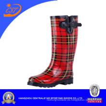 Moda señoras cómodas de lluvia hasta la rodilla Botas