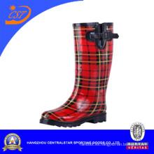 2016 Red Stripe Rain Boots con hebilla para hombres y mujeres Zhejiang (SSD-LB11)