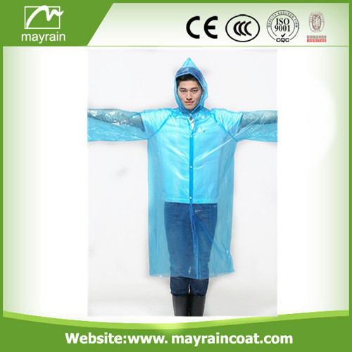 High Quality Blue PE Disposable Raincoat