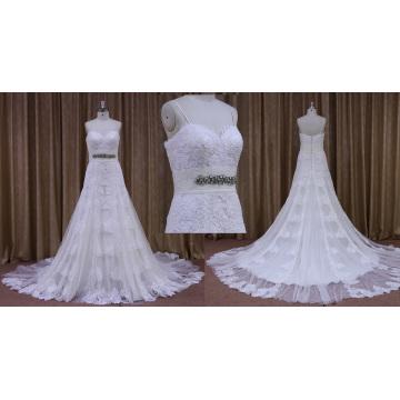 Слоновой Кости Цветок Кружева Тюль Наложение Свадебное Платье