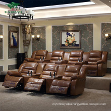 Reclining Luxury Brown 7 Seaters European Style Home Theater Electric Recliner Sofa