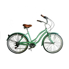 26 Inch Green Color Adult Women Lady 7 Speeds Ce Europe Beach Cruiser Bike