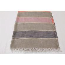 Stripe design with filigree decoration scarf  fringe on four side super soft hand feeling