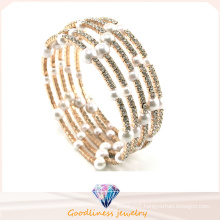 New White Pearl with CZ Stone Gold Plated Silver Jewelry Fashion Bracelets & Bangle (G41254)