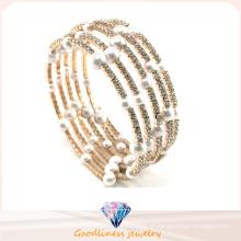 Nova pérola branca com pedra cz ouro banhado a prata jóias pulseiras de moda e bracelete (g41254)