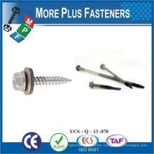 "Taiwan #10-16 x 2"" Hex Unslotted Hex Washer Head Epoxy #3 410 Stainless Steel Bonded Sealing Washer Self-Drilling Screw"