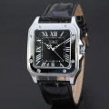 Square Leather Alloy Case Tourbillon Crown Watch