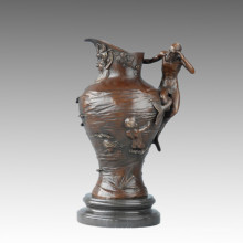 Vase Statue Alter Mann Bronze Jardiniere Skulptur TPE-658