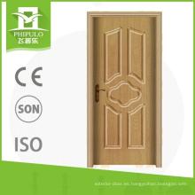 Zhejiang China buena calidad pvc sola hoja interior madera puerta