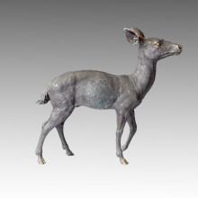 Animal Gran Jardín De Escultura De Ciervo Decoración De Bronce Estatua Tpal-057