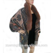 100% кашемир цифровой печати женщины шаль с Fox меховой отделкой