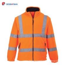 Orange Hi Vis Fleece Jacket Safety Lined Warm ANSI Class 3 Reflective Zipper Work Uniform Coat OEM