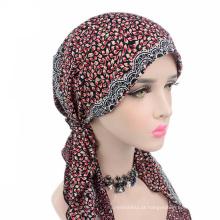 Venda quente senhora impresso muçulmano cauda longa cap moda chapéu de turbante de algodão para as mulheres