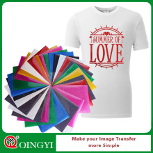 Qing yi glitter adhesive vinyl sheets for t shirts