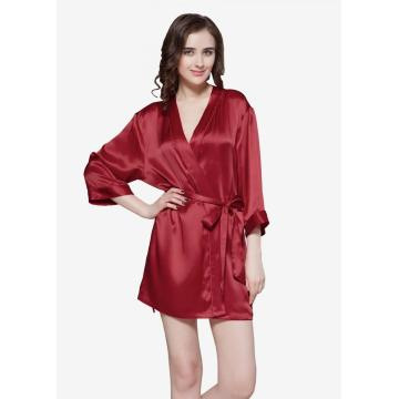 Women's Pure19 Momme Mini Cut Silk Robe Short Silky Robes Bridesmaid Bride Party Sleepwear Kimono Small~X-Large