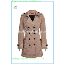 2015 OEM fashion Khaki matelassé trench en dames