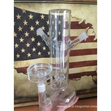 Hookah de vidro Shisha com mangueira de cachimbo de água de Silicone e capa de couro (ES-HS-002)