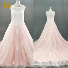 ЭД невесты на заказ Гуанчжоу Cap рукавом видеть сквозь назад Персик-розовый тюль свадебное платье Алибаба