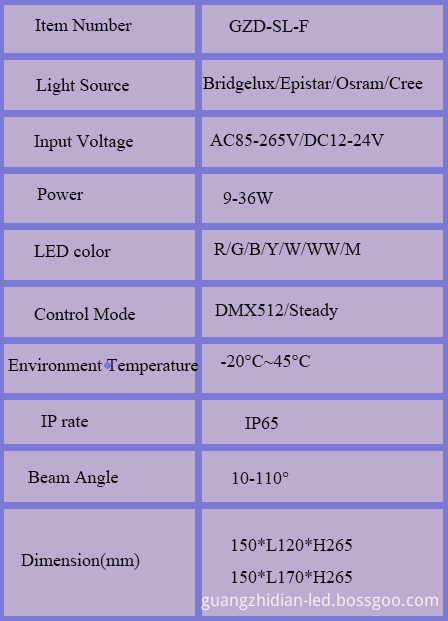product specification GZD-SL-F