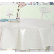 Weiße Runde Tischdecke PVC gedruckt Design Tischdecke mit Vlies Unterstützung