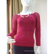 Ladies Seamless Long Sleeve With Silver Shiny Yarn