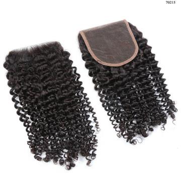 Extensión de cabello de visón de Brasil, One Seller, cierre rizado rizado peruano