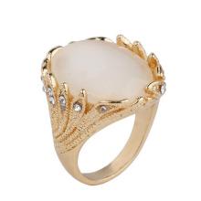 Dubai 24k Gold überzogener Ring-Mann-Goldring-Entwurfs-großer Kristallgoldring