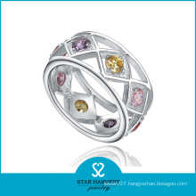 Colorful CZ Sterling Silver Jewelry Band Ring (SH-R0189)