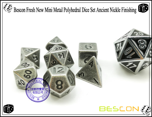 Bescon Fresh New Mini Metal Polyhedral Dice Set Ancient Nickle Finishing-5