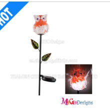 New Arrival Metal and Glass Owl Solar Light Stake