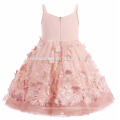 2017 vestido de niña de las flores de color rosa para la boda hecha a mano princesa puffy bebé vestido de verano
