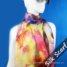 Longue écharpe en soie Habotai pour femme