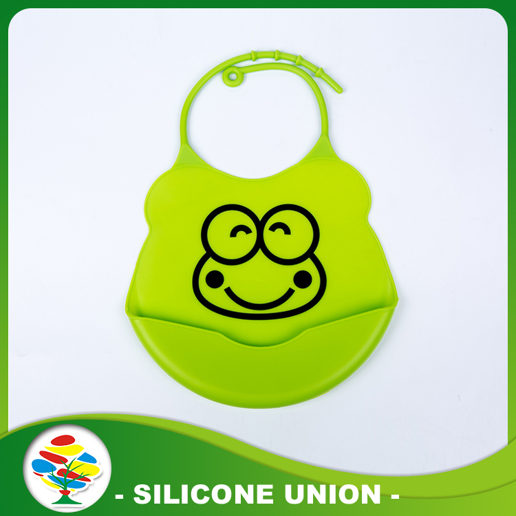 Green baby bib with snaps