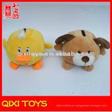 Animal dos desenhos animados forma marrom brinquedo do cão de pelúcia poupança de dinheiro potes