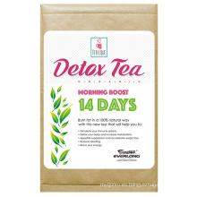 Té herbario orgánico de la desintoxicación que adelgaza el té de la pérdida del peso del té (té del alza de la mañana de 14 días)