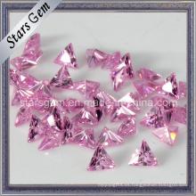 Forma de Triángulo Rosa Piedra Sintética de Zirconia Cúbica