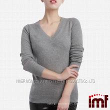Серый с длинным рукавом V-образным вырезом мужчина женщина свитер