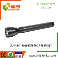 Fabrik Heißer Verkauf 3 * D Ni-cd Wiederaufladbare Zelle verwendetes Aluminium bestes leistungsstärkste 10w Cree führte schwere nachladbare Taschenlampe