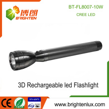 Factory Hot Sale 3*D Ni-cd Rechargeable Cell Used Aluminum Best Most Powerful 10w Cree led Heavy Duty Rechargeable Flashlight