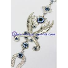 Turkish Evil Eye Horseshoe Pendant Zulfiqar crossed swords machete wall home decoration