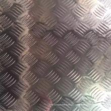 Folha de alumínio em relevo com 5 barras