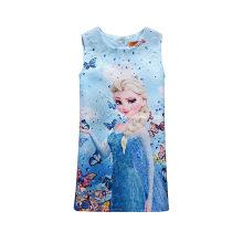 2017 nova menina doce casual uma linha dos desenhos animados impressão baby girl summer dress