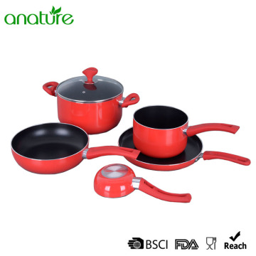 Batterie de cuisine à induction antiadhésive rouge